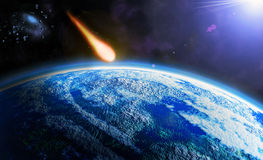 Asteroid. Danger from space - asteroid armageddon Royalty Free Stock Images