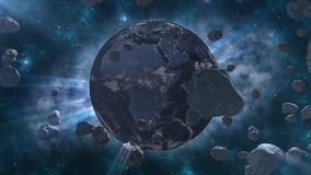 Asteroid and Earn. Asteroids fly to earth in space stock video