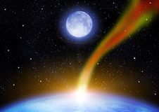 Asteroid and Earth Royalty Free Stock Images