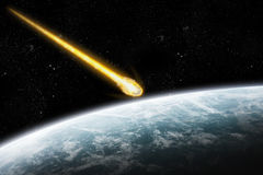 Asteroid and Earth apocalypse royalty free illustration