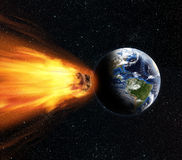 Asteroid Earth Collide. 3D rendering of a blazing asteroid on collision course with planet Earth Royalty Free Stock Photography
