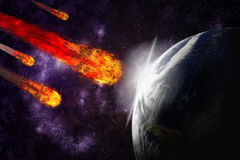 Asteroid and earth planet on starfield background. Asteroid and earth planet on starfield abstract background. Illustration meteor impact Stock Photos