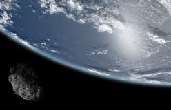 Asteroid on Earth. Asteroid from space threat Earth Stock Photo