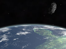 Asteroid on earth. Asteroid threat to the Yucatan Stock Image