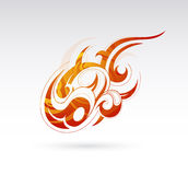 Asteroid emblem. Fire flame shape as design element Royalty Free Stock Images