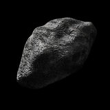 Asteroid in empty space. Render of an asteroid in empty space on black background Stock Photo