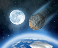 Asteroid falling on Earth Royalty Free Stock Image