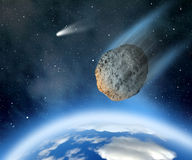 Asteroid falling on Earth Stock Image