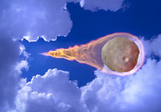 Asteroid Falls. Big asteroid falls from the sky leaving a trail of fire. 3D photo collage Stock Photo