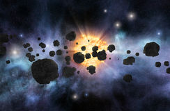 Asteroid field Royalty Free Stock Images