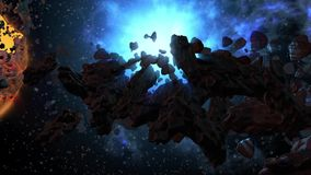 Asteroid field and dying red planet stock footage