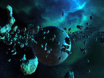 Asteroid Field and Nebula Royalty Free Stock Photos