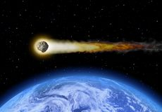 The asteroid flies past the earth Stock Image