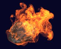 The asteroid flying. Burning asteroid flying in space from the top to the bottom on a tangent , surrounded by fire on a dark blue background Stock Photos