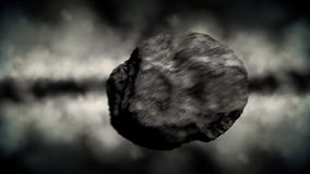 Asteroid Flying Fast Through A Gas Cloud In Outer Space stock footage
