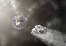 Asteroid Flying Towards The Earth Stock Image