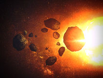 Asteroid on Galaxy Royalty Free Stock Photo