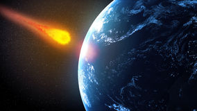 Asteroid hiting Earth. Asteroid falling on Earth illustration Stock Photo