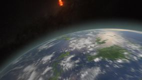 Asteroid hitting and burning Earth
