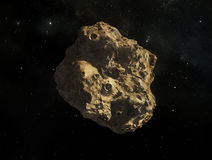 Asteroid. Illustration of a rogue single asteroid in space in front of a background of stars Stock Photos