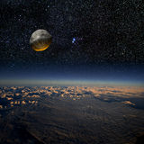 Asteroid impact. Combination of a 3D render and a photograph Stock Image