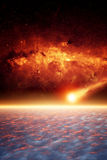 Asteroid impact. Abstract scientific background - asteroid impact planet Earth, red galaxy, apocalypse. Elements of this image furnished by NASA/JPL-Caltech Royalty Free Stock Photos