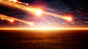 Asteroid impact. Abstract scientific background - asteroid impact, sunset over sea, glowing horizon Stock Images
