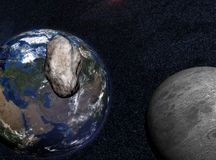 Asteroid Impact. Asteroid passing close to the moon on its way to impact on earth Stock Photos