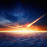 Asteroid impact. Abstract scientific background - asteroid impact, red sunset, glowing horizon Stock Photo