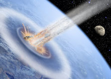 Asteroid impact on Earth. Asteroid hits Earth with Moon in back Stock Photos