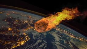 Asteroid Impact on Earth. Asteroid, comet, meteorite glows, enters the earth`s atmosphere. Attack of the meteorite