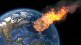 Asteroid Impact on Earth. Asteroid, comet, meteorite glows, enters the earth`s atmosphere. 3d rendering. Meteor Rain