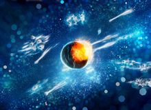 Asteroid impact fractal artwork Stock Images