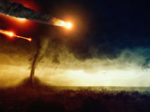 Asteroid impact and huge tornado Stock Image