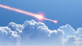 Asteroid, meteorite impact. Blue sky, white clouds, asteroid, meteorite impact stock photography