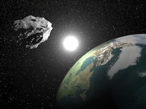 Asteroid near earth - 3D render Royalty Free Stock Images