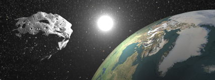 Asteroid near earth - 3D render Stock Photos
