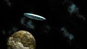 Asteroid och ufo royaltyfri illustrationer