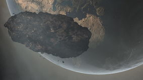 Asteroid Over Earth Royalty Free Stock Images
