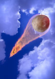 Asteroid and Sky. Big asteroid falls from the sky leaving a trail of fire. 3D photo collage Royalty Free Stock Images