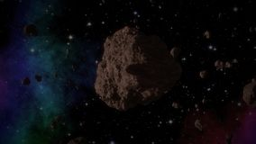 Asteroid in space generated video stock video