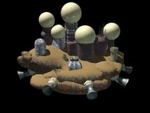 Asteroid space station. A space station on an asteroid in 3d Royalty Free Stock Images