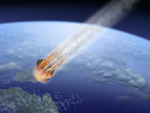 Asteroid strike Earth. End of the World vector illustration