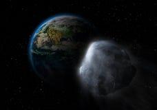 Asteroida na karambol ścieżce z ziemią ilustracja wektor