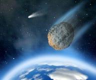 Asteroide che cade sulla terra illustrazione di stock