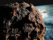 Asteroide contra la tierra foto de archivo