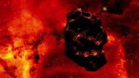 Asteroide di scena dello spazio del cgi che galleggia nello spazio stock footage