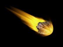 Asteroide que cae en fondo negro Foto de archivo libre de regalías