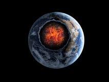Asteroide que vuela, meteorito a la tierra Espacio exterior armageddon ilustración del vector