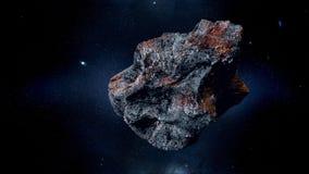 Asteroide que vuela, meteorito a la tierra Espacio exterior armageddon representación 3d imágenes de archivo libres de regalías